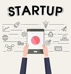 Businessman holding tablet for start up vector image