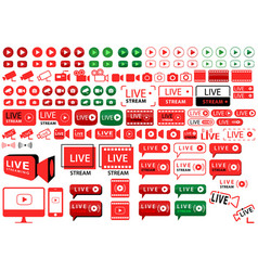 buttons and icons for internet broadcasting vector image