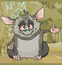 Cartoon fluffy cute gray animal sitting in the vector