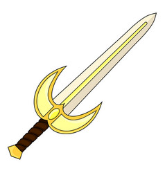 Cartoon holy sword isolated on white backround vector