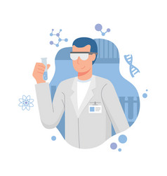 Chemist holding test tubes vector
