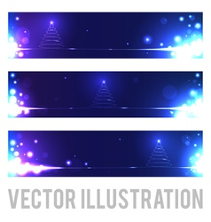 Christmas banners with abstract Christmas tree vector image
