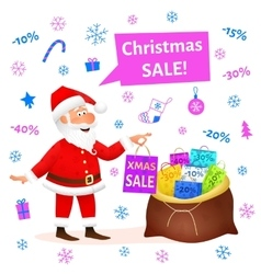 Christmas sale Santa Claus cartoon vector