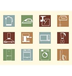 Colored retro icons vector