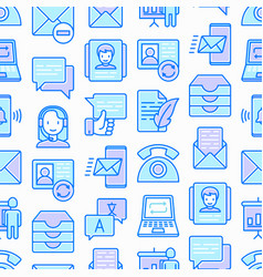 Communication seamless pattern with thin line icon vector