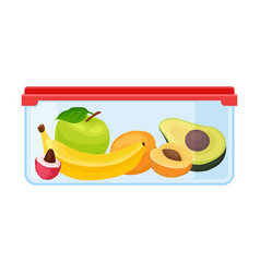 Container with fruits vector
