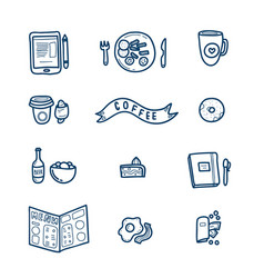 cute cafe doodle icons set vector image