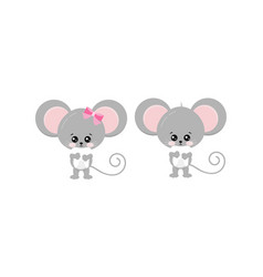 Cute mouse hold tooth in paws set isolated on vector