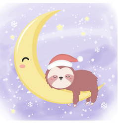 Cute sloth sleeping in winter with moon vector