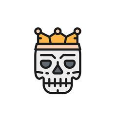death mask tattoo sketch flat color line vector image