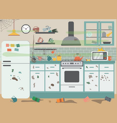 Dirty messy kitchen with stained furniture flat vector