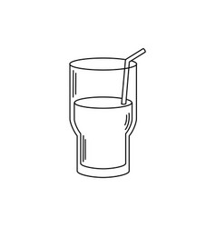 Drinks fresh glass cup water with straw line style vector