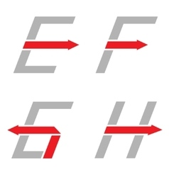 E F G H letters vector image