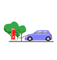 electric car charging at refuelling power station vector image