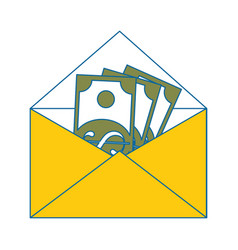 Envelope with money icon vector