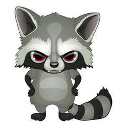 Evil raccoon with red eyes with paws on hips vector