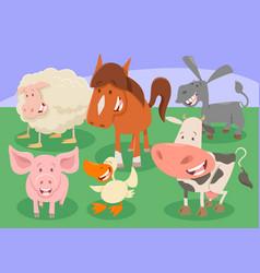 Farm animals group cartoon vector