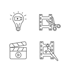 Film industry linear icons set vector