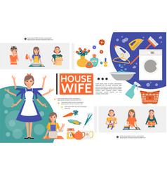 flat housewife life template vector image