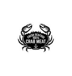 fresh seafood emblem template with crab design vector image