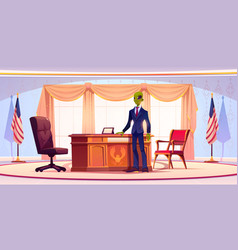 Funny alien business man or president in office vector