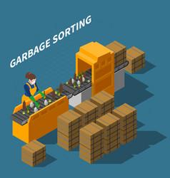garbage sorting conveyor composition vector image