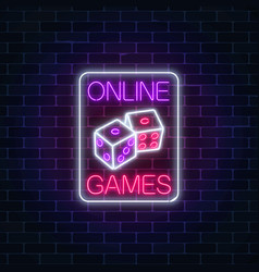Glowing neon sign of online casino application vector