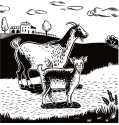 Goat and kid on a country road vector
