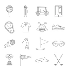 Golf items icons set outline style vector