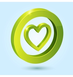 Green heart symbol isolated on blue background vector image vector image