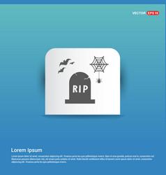Halloween grave icon - blue sticker button vector