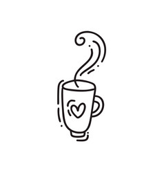 Hand drawn doodle coffee cup with heart sketched vector