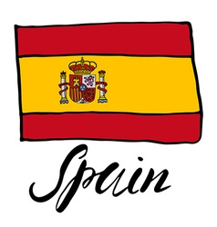 Hand drawn sketch flag of spain vector image