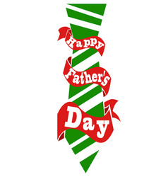 happy fathers day tie with ribbon card vector image