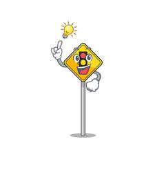 Have an idea traffic light ahead on roadside vector