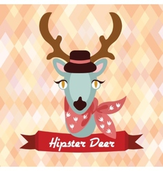 Hipster deer poster vector