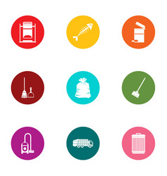 Home trash icons set flat style vector
