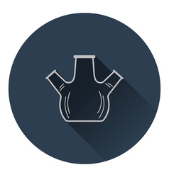 Icon of chemistry round bottom flask with triple vector image