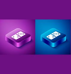 Isometric domino icon isolated on blue and purple vector