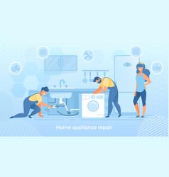Joyful men characters fixing broken home technics vector