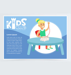 kids club poster with cute girl character sitting vector image