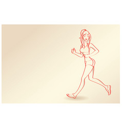 Line drawing - woman running vector