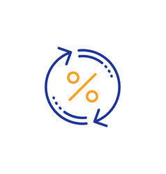 Loan percent update line icon discount sign vector