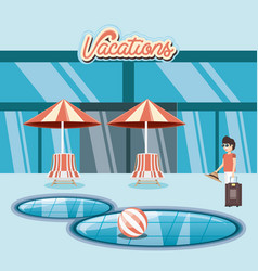 Man in the pool scene travel ilustration vector