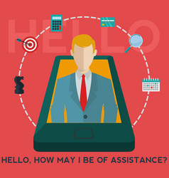 mobile phone business assistant app business help vector image