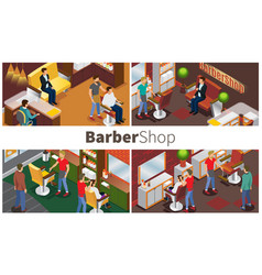 modern barbershop colorful composition vector image