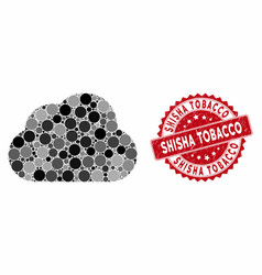 Mosaic cloud with distress shisha tobacco stamp vector