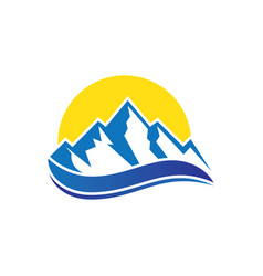 mountain wave icon logo image vector image