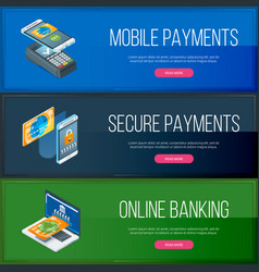 online banking banners set vector image