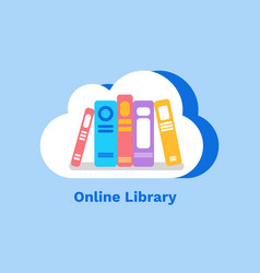 online library books in cloud on blue vector image